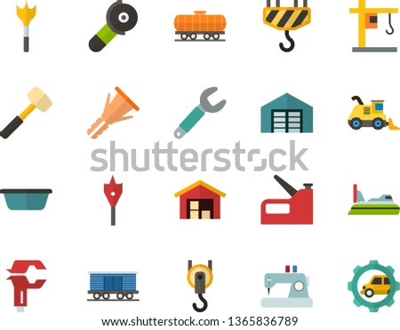 Color Flat Icon Set - hoisting crane flat vector, warehouse, sewing machine, sledgehammer, basin, wrench, caliper, furniture hardware, feather drill, angle grinder, hook, construction stapler