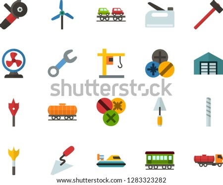 Color Flat Icon Set - hoisting crane flat vector, windmills, warehouse, fan, hammer, spatula, wrench, types of screwdrivers, drill bit, feather, angle grinder, construction stapler, old train