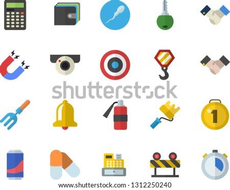 Color flat icon set hook flat vector, paint roller, barrier, lemonade, pitchfork, purse, cash machine, sperm, agreement, magnet, calculator, medal, target, pills, surveillance camera fector, bell