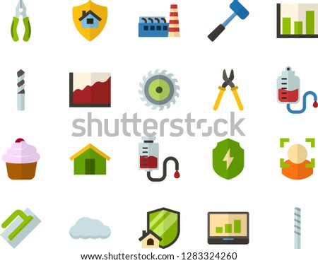 color flat icon set   house