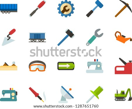 Color Flat Icon Set - level of charge flat vector, settings, sewing machine, satellite dish, hammer, miner axe, sledgehammer, spatula, chisel, planer, wrench, rivet, construction glasses, stapler