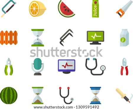 Color Flat Icon Set - microphone flat vector, hourglass, juice, lemon, watermelon, stethoscope, electrocardiogram, radiator, saw, hacksaw for metal, pliers, construction staples, soldering iron
