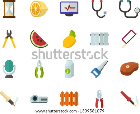 Color Flat Icon Set - microphone flat vector, hourglass, steak, juice, lemon, watermelon, stethoscope, electrocardiogram, radiator, multimedia projector, saw, hacksaw for metal, pliers