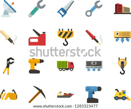 Color Flat Icon Set - multistory building flat vector, conditioner, satellite dish, saw, miner axe, wrench, press pliers is, construction glasses, cordless drill, soldering iron, hook, stapler