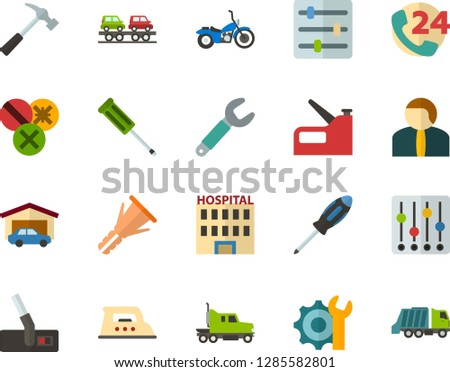 Color Flat Icon Set - phone call flat vector, hospital, settings, garage, citizen, iron, hoover, hammer, wrench, screwdriver, furniture hardware, types of screwdrivers, construction stapler, garbage