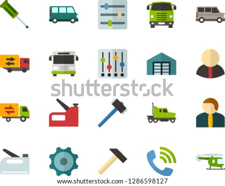 Color Flat Icon Set - phone call flat vector, settings, gear, warehouse, citizen, trucking industry, hammer, screwdriver, construction stapler, minibus, truck cab, bus front view, helicopter