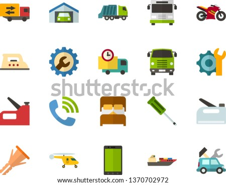 Color Flat Icon Set - phone flat vector, auto delivery, call, settings, garage, double bed, trucking industry, iron, screwdriver, furniture hardware, construction stapler, bus front view, truck cab
