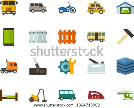 Color Flat Icon Set - phone flat vector, big data server, settings, garage, bed, radiator, iron, hoover, hammer, construction stapler, taxi, bus, minibus, truck cab, front view, motorcycle