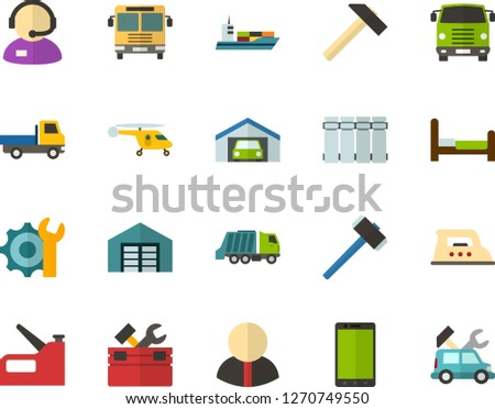 Color Flat Icon Set - phone flat vector, telephone operator, settings, garage, warehouse, citizen, bed, radiator, iron, hammer, toolbox, construction stapler, open van, bus front view, truck cab