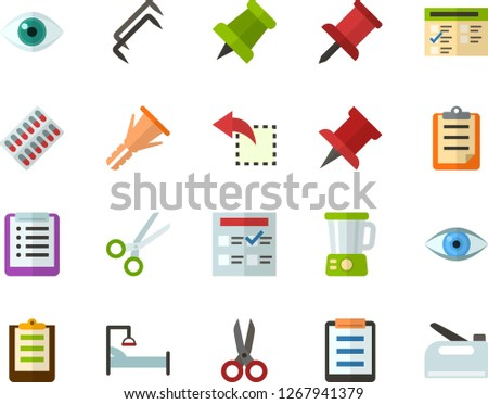 Color Flat Icon Set - pushpin flat vector, checklist, clipboard, exam, reply, schedule, eye, scissors, packaging of tablets, hospital bed, blender, construction staples, furniture hardware, stapler