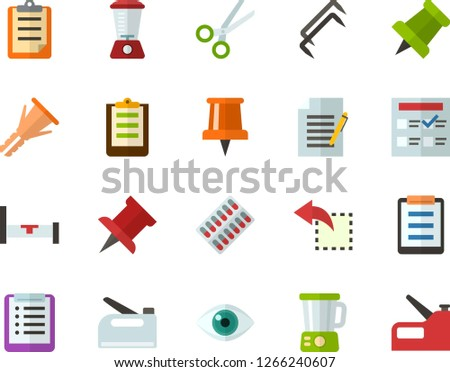 Color Flat Icon Set - pushpin flat vector, checklist, clipboard, exam, write file, reply, schedule, eye, scissors, packaging of tablets, hospital bed, blender, construction staples, stapler