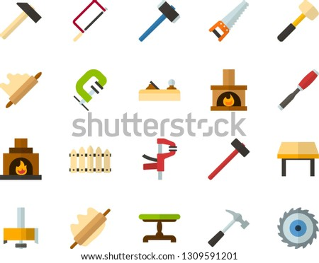 Color Flat Icon Set - rolling pin flat vector, fence, vintage table, fireplace, hammer, saw, hacksaw for metal, sledgehammer, chisel, planer, clamp, milling cutter, wood