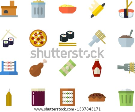 Color flat icon set rolling pin flat vector, spaghetti, ketchup, on a fork, pizza, porridge, pie, chicken, fish rolls, sashimi, jam, mustard, fireplace, abacus, trash can