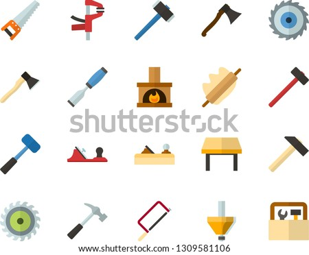 Color Flat Icon Set - rolling pin flat vector, table, fireplace, hammer, saw, axe, hacksaw for metal, sledgehammer, chisel, planer, clamp, milling cutter, wood, toolbox