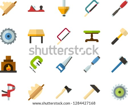 Color Flat Icon Set - rolling pin flat vector, vintage table, fireplace, hammer, saw, axe, hacksaw for metal, sledgehammer, chisel, planer, clamp, milling cutter, wood