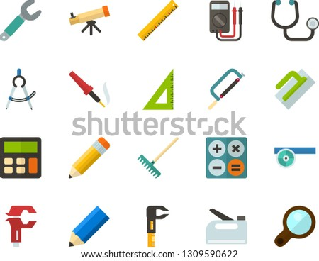 Color Flat Icon Set - ruler corner flat vector, pencil, dividers, telescope, calculator, stethoscope, Frontal reflector, hacksaw for metal, trowel, straightedge, wrench, caliper, rake, multimeter
