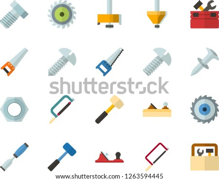 Color Flat Icon Set - saw flat vector, toolbox, hacksaw for metal, sledgehammer, chisel, planer, bolt, nut, dowel nail, screw, milling cutter, wood