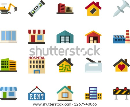 Color Flat Icon Set - school flat vector, small shop, hospital, warehouse, rent, building, multistory, sweet home, smart house, factory, window, level, dowel nail, construction stapler, excavator