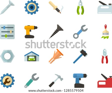 Color Flat Icon Set - settings flat vector, gear, garage, hammer, wrench, tapping screw, pliers, nut, furniture hardware, cordless drill, paint brush, soldering iron, construction stapler