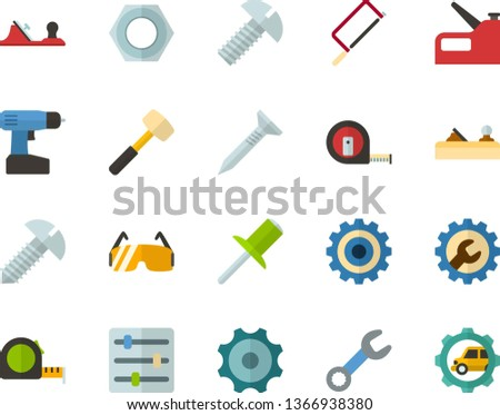 Color Flat Icon Set - settings flat vector, gear, hacksaw for metal, sledgehammer, planer, measuring tape, wrench, tapping screw, nut, bolt, rivet, construction glasses, cordless drill, stapler