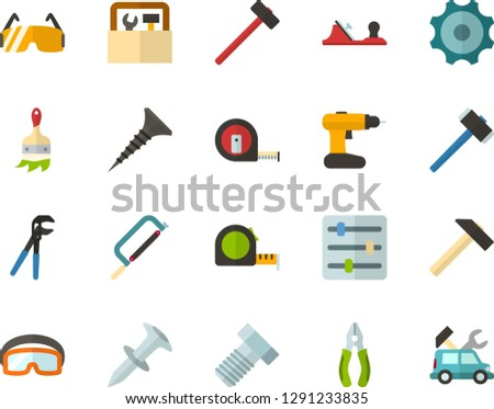 Color Flat Icon Set - settings flat vector, gear, hammer, hacksaw for metal, planer, measuring tape, tapping screw, pliers, press is, bolt, dowel nail, construction glasses, cordless drill, toolbox