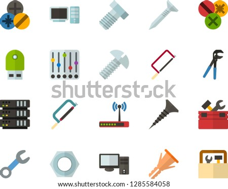 Color Flat Icon Set - settings flat vector, server, computer, USB flash drive, router, toolbox, hacksaw for metal, wrench, tapping screw, press pliers is, bolt, nut, furniture hardware