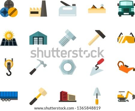 Color Flat Icon Set - solar panel flat vector, warehouse, multistory building, factory, hammer, sledgehammer, spatula, planer, bolt, nut, types of screwdrivers, construction glasses, hook, stapler
