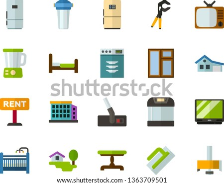 Color Flat Icon Set - televisor flat vector, house with garage, forest, rent, building, vintage table, baby cot, bed, refrigerator, dishwasher, multicooker, blender, hoover, TV, water filter, window