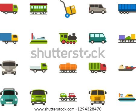 Color Flat Icon Set - trolley flat vector, lorry, minibus, open van, semi trailer, old train, freight, car carrier, pickup front view, truck cab, cargo ship, hovercraft