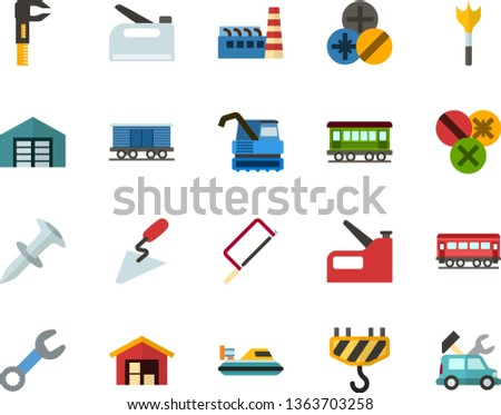 Color Flat Icon Set - warehouse flat vector, factory, hacksaw for metal, spatula, wrench, caliper, dowel nail, types of screwdrivers, feather drill, hook, construction stapler, old train, freight