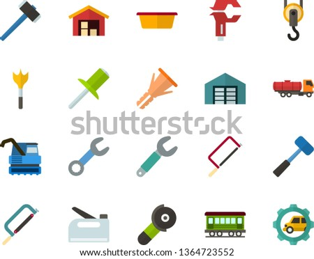 Color Flat Icon Set - warehouse flat vector, hammer, hacksaw for metal, sledgehammer, basin, wrench, caliper, furniture hardware, rivet, feather drill, angle grinder, hook, construction stapler
