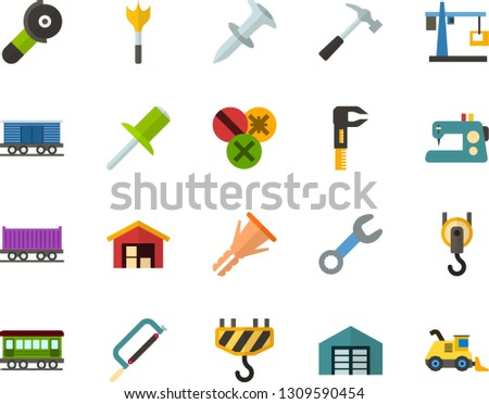 Color Flat Icon Set - warehouse flat vector, hoisting crane, sewing machine, hammer, hacksaw for metal, wrench, caliper, dowel nail, furniture hardware, rivet, types of screwdrivers, feather drill