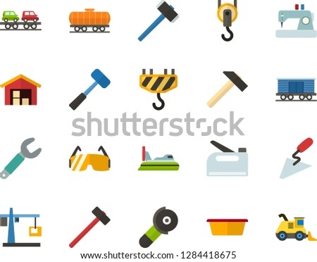 Color Flat Icon Set - warehouse flat vector, hoisting crane, sewing machine, hammer, sledgehammer, spatula, basin, wrench, construction glasses, angle grinder, hook, stapler, freight train