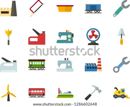 Color Flat Icon Set - windmills flat vector, factory, fan, sewing machine, hammer, hacksaw for metal, spatula, basin, wrench, feather drill, construction stapler, old train, freight, hovercraft