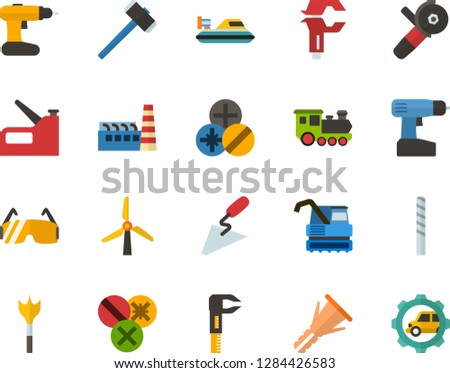 Color Flat Icon Set - windmills flat vector, factory, hammer, spatula, caliper, furniture hardware, types of screwdrivers, drill bit, feather, construction glasses, cordless, angle grinder, stapler