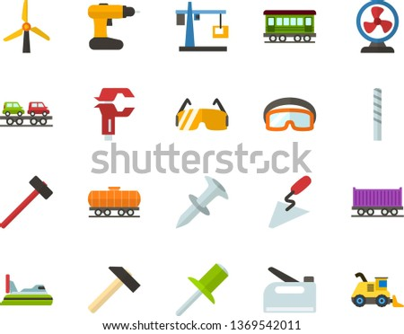 Color Flat Icon Set - windmills flat vector, hoisting crane, fan, hammer, spatula, caliper, dowel nail, rivet, drill bit, construction glasses, cordless, stapler, old train, freight, car carrier
