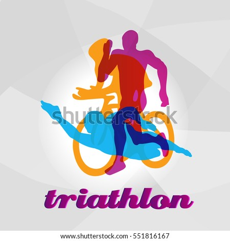 color flat logo triathlon