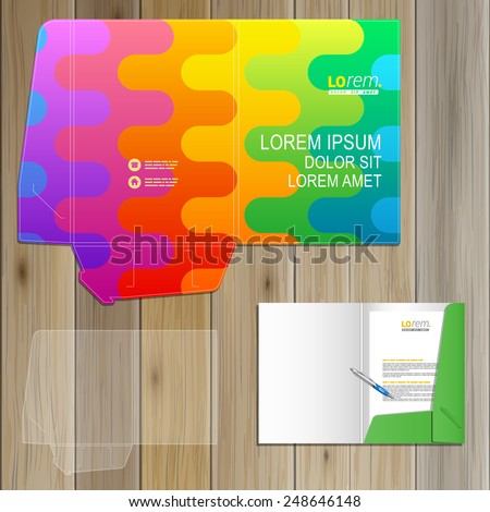 Color folder template design for corporate identity with art wavy pattern. Stationery set