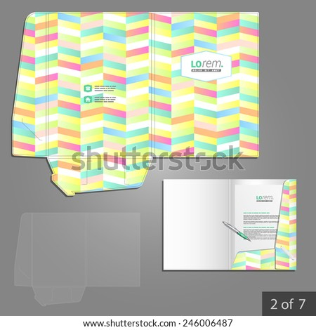 Color folder template design for corporate identity with geometric pattern. Stationery set