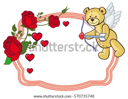 color frame with roses and