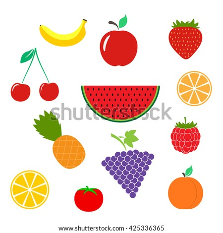 color fruits icon isolated on