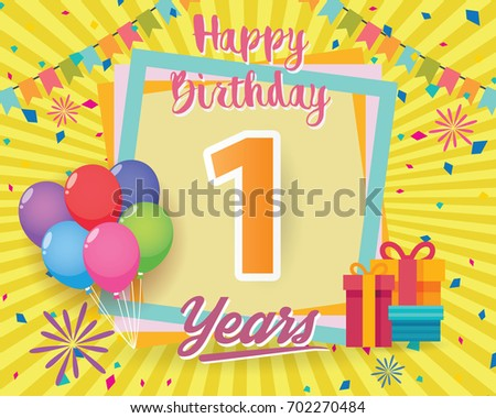 Vector Illustration of 1st Birthday Card Download Free Vector – Vector Birthday Card