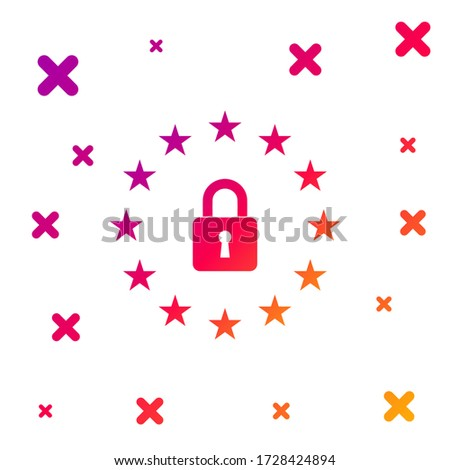 Color GDPR - General data protection regulation icon on white background. European Union symbol. Security, safety, protection, privacy concept. Gradient random dynamic shapes. Vector Illustration