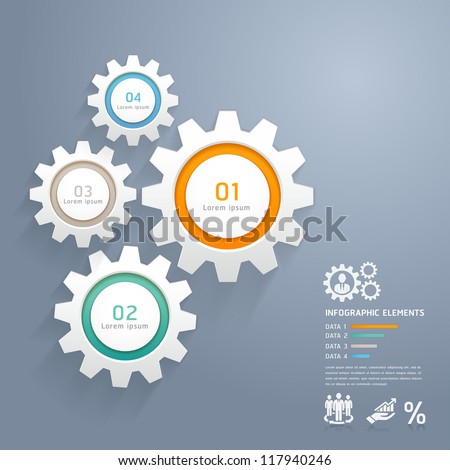 Color Gears Infographics Number Options Banner & Card. Vector illustration