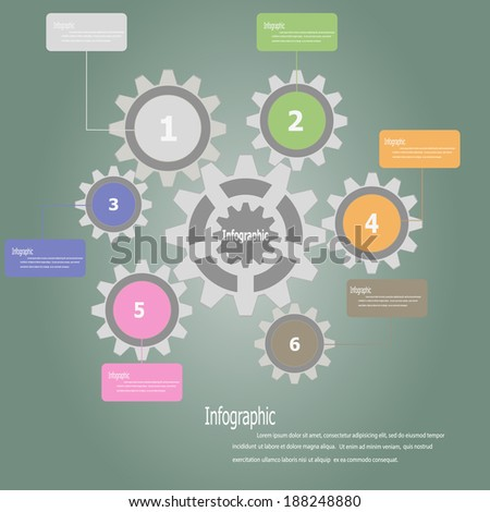 Color Gears Infographics Number Options . Vector illustration