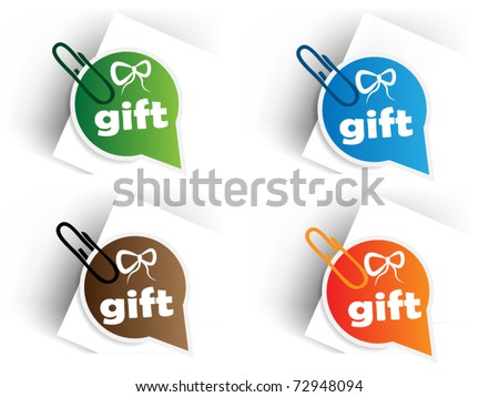 Color gift tags with pin
