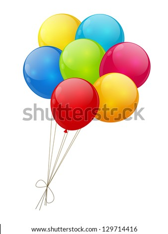 color glossy balloons isolated