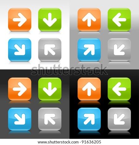 Color glossy web internet button with arrow sign. Rounded square icon with shadow and reflection on four background. This vector saved in 8 eps. Do not contain effects and transparency
