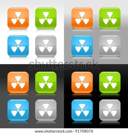 Color glossy web internet button with radiation sign. Rounded square icon with shadow and reflection on four background. This vector saved in 8 eps. Do not contain effects and transparency