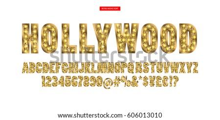 color golden alphabet with show